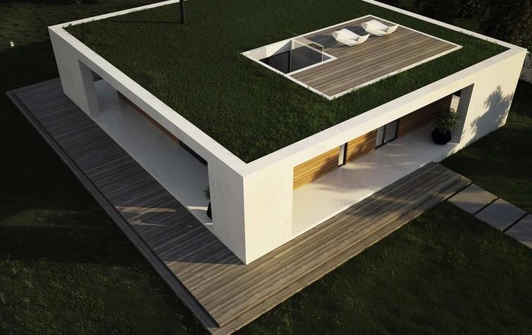 Одноэтажный каркасный дом с плоской крышей
