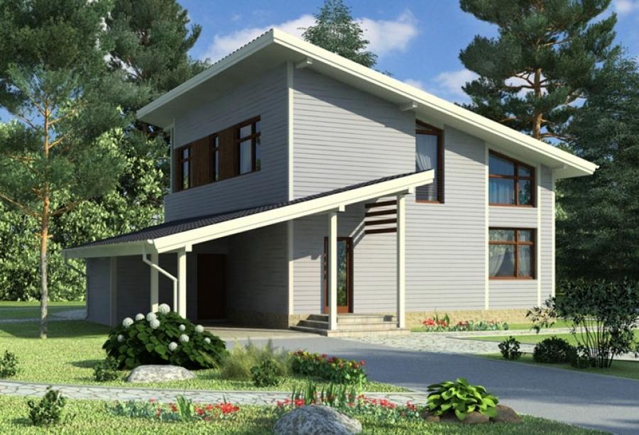 Проекты домов с односкатной крышей
